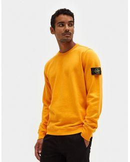 Slub Effect Sweatshirt Garment Dyed In Orange