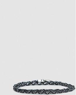 Hand-braided Silver Chain Bracelet In Black