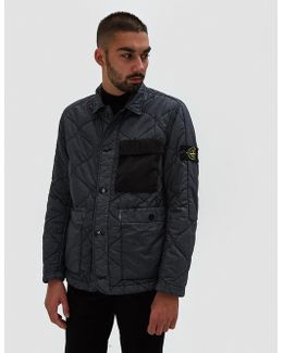 Resin Poplin Garment Dyed Quilted Jacket