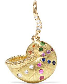 Nautilus Keeper 18-karat Gold Multi-stone Earring