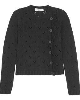 Ruffled Pointelle-knit Wool Sweater