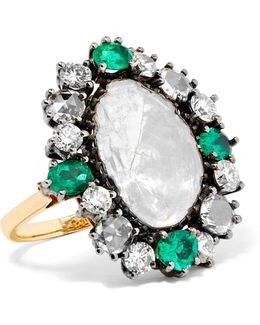 14-karat Gold, Silver, Emerald And Diamond Ring