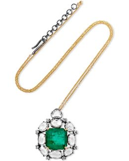 18-karat Gold, Sterling Silver, Emerald And Diamond Necklace