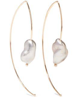 Open Marquis 14-karat Gold Pearl Earrings
