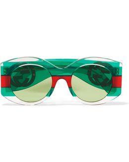 Round-frame Striped Acetate Sunglasses