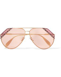 Crystal-embellished Aviator-style Gold-tone Sunglasses
