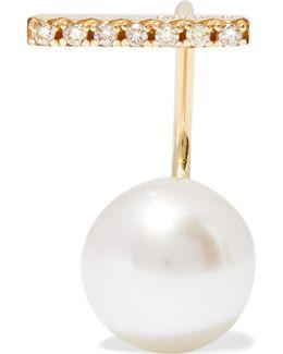 10-karat Gold Pearl And Diamond Earring