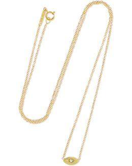 Mini Evil Eye 18-karat Gold Diamond Necklace
