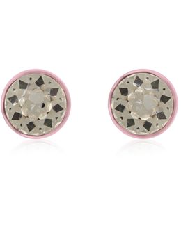 Round Earrings In Baby-pink Lacquered Brass And Crystal