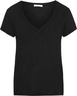 Casual Slub Cotton-jersey T-shirt