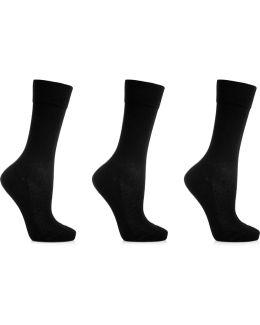 Set Of Three Cotton-blend Socks