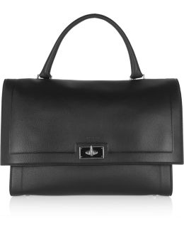 Medium Shark Bag In Black Textured-leather