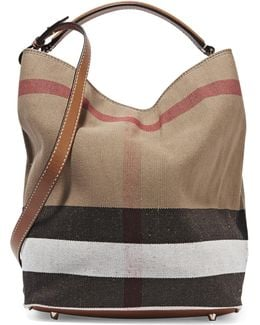 Leather-trimmed Checked Canvas Hobo Bag