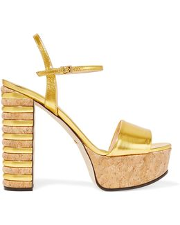 Metallic Leather And Cork Platform Sandals