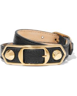 Triple Tour Textured-leather And Gold-tone Bracelet