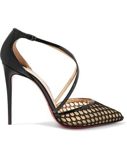 Cross Blake 100 Patent-leather And Embroidered Mesh Pumps