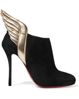 Mercura Metallic Leather-trimmed Suede Ankle Boots