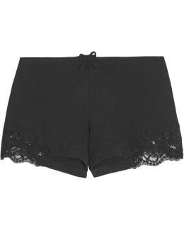 Souple Lace-trimmed Stretch-cotton Jersey Pajama Shorts