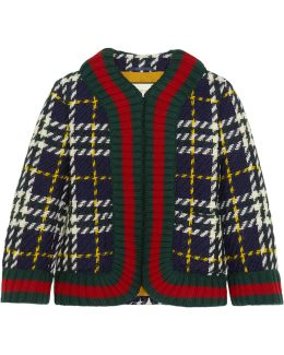 Cropped Plaid Wool Jacket