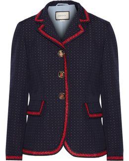 Velvet-trimmed Polka-dot Cotton And Wool-blend Blazer