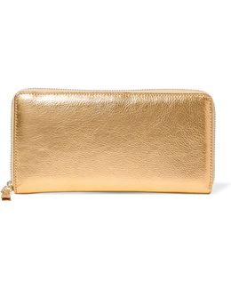 Metallic Textured-leather Continental Wallet