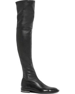 Chain-trimmed Over-the-knee Boots In Black Stretch-leather