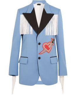 Fringed Embellished Stretch-twill Jacket