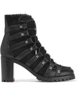 Chaletta 70 Studded Shearling And Leather Boots