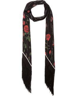 Rose Printed Silk Crepe De Chine Scarf