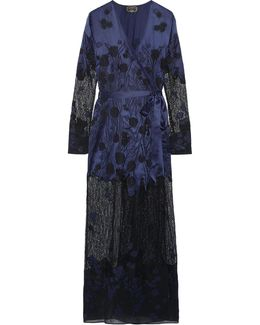 Anissa Appliquéd Silk-satin And Lace Robe