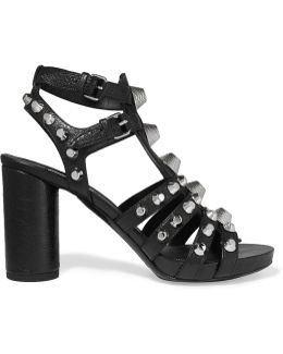 Studded Textured-leather Sandals