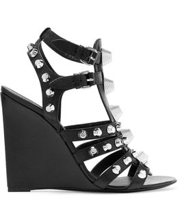 Studded Textured-leather Wedge Sandals