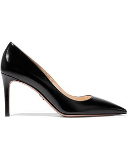 Glossed Textured-leather Pumps
