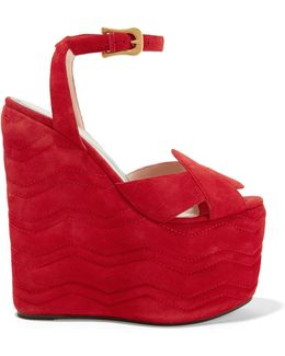 Quilted Suede Wedge Sandals