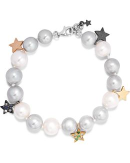 Superstellar 18-karat White Gold, Pearl And Sapphire Bracelet