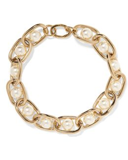 Chain Choker In Gold-tone Brass And Faux Pearl