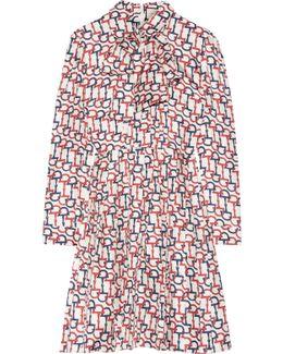 Pussy-bow Printed Silk-twill Mini Dress