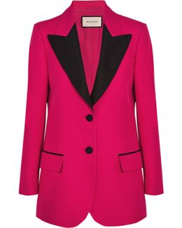 Faille-trimmed Wool And Silk-blend Crepe Blazer