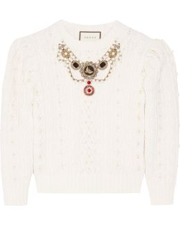 Embellished Cable-knit Wool And Cashmere-blend Sweater