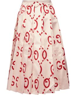 Pleated Printed Duchesse Silk-satin Midi Skirt