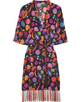 We Liming Printed Silk Crepe De Chine Kimono