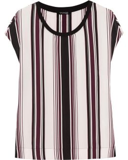 Luxe Striped Washed-silk Top