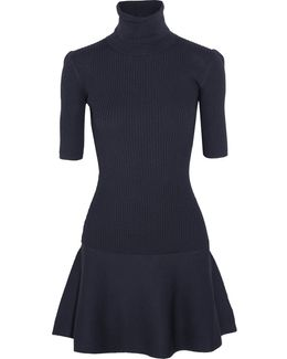 Ribbed Stretch-knit Turtleneck Mini Dress