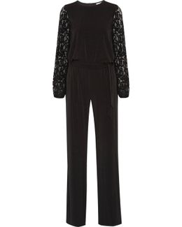 Guipure Lace-paneled Stretch-jersey Jumpsuit