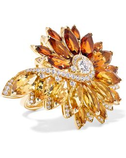Magnipheasant Feathers 18-karat Gold, Citrine And Diamond Ring