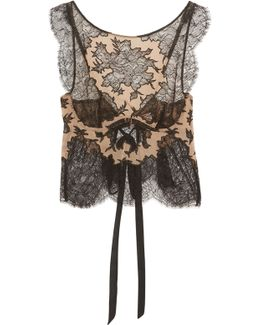 Cora Leavers Lace And Chiffon Underwired Soft-cup Bra