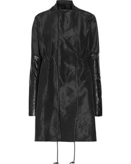 Leather-trimmed Faille Coat