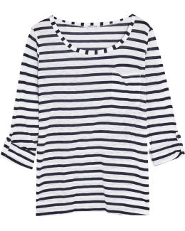 Venice Striped Slub-jersey Top