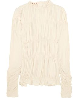 Ruched Crepe De Chine Top