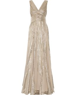 Pleated Chiffon-paneled Silk-blend Lamé Gown